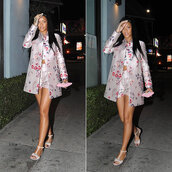 coat,rihanna,shorts,floral,sandals,flats,flat sandals,jacket,t-shirt,shirt,shoes