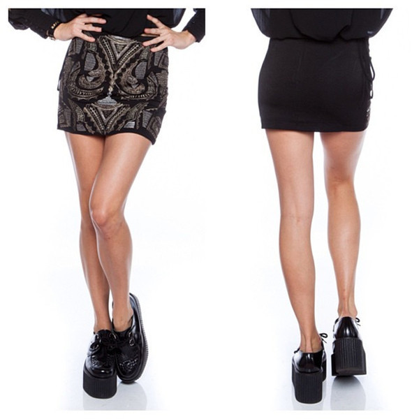 skirt hannah black pattern design print vanityv vanity row dress to kill chic rock vogue mini skirt