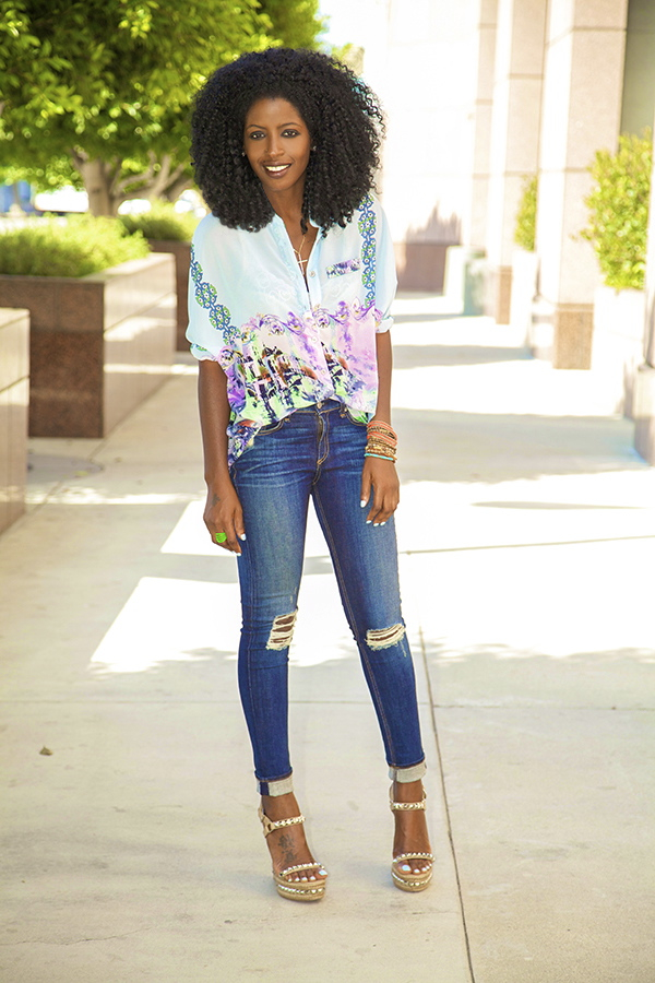 Style Pantry | Cityscape Batwing Blouse   Distressed Jeans