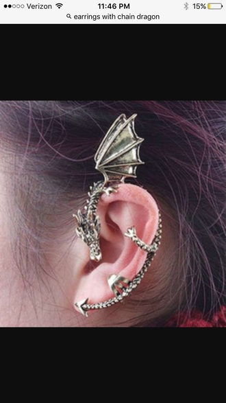 jewels earrings cuff earring dragons dragon earring gold grunge cool detailed