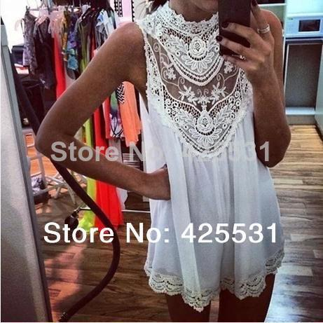 2014 New Arrive Sleeveless Lace Flower Mini Dress, Women Sexy Hollow Out Short Dress, Free Shipping-in Dresses from Apparel & Accessories on Aliexpress.com