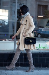 posh classy mom – a lifestyle blog by sheree,blogger,top,coat,leggings,shoes,bag,beige coat,trench coat,gucci bag,gucci,grey boots,over the knee boots,turtleneck sweater