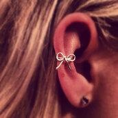 jewels,ear,earrings,ear cuff,cuff,bow,silver,jewelry,small,summer,Accessory
