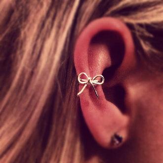 jewels ear earrings ear cuff cuff bow silver jewelry small summer accessory