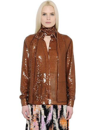 shirt embroidered sequins brown top