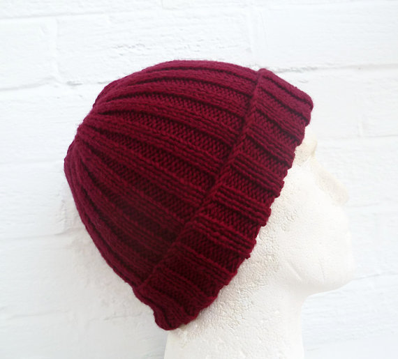 Hand knit hat, mens wool beanie hat, burgundy watchman cap, accessories, clickclackknits