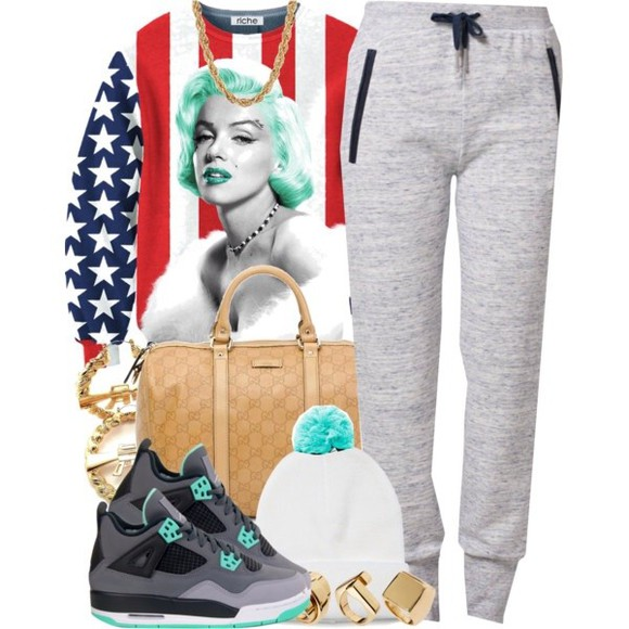 red white and blue sweater marilyn monroe pants hat shoes jewels