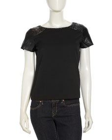 Short-Sleeve Beaded Leather Top, Black