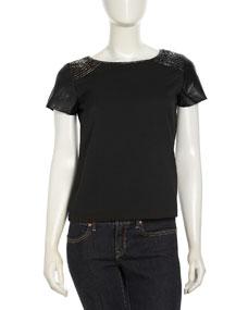 Short-Sleeve Beaded Leather Top, Black