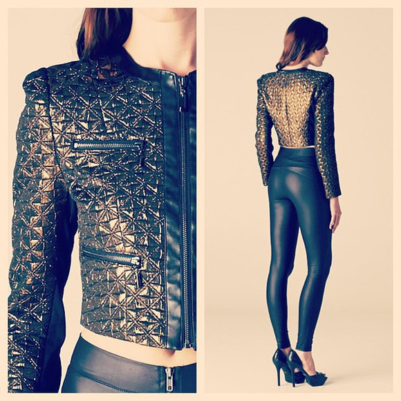 runway leather vanity vanity row dress to kill rocker vogue jacket metal gold crop jacket chic