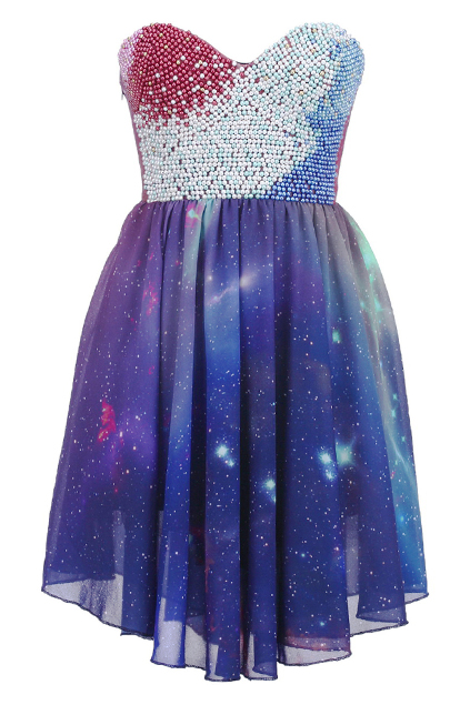 Beaded bandeau galaxy dress, the latest street fashion