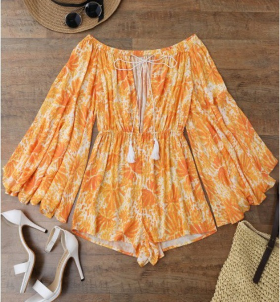 romper girly boho boho chic orange off the shoulder