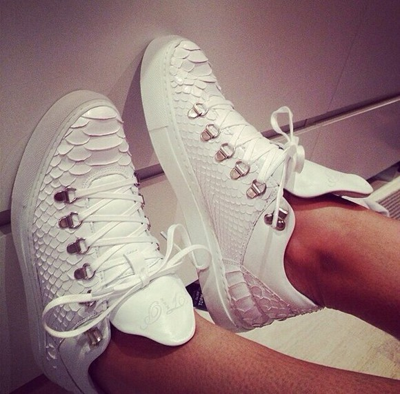 balenciaga white shoes crocodile print snake print sneakers