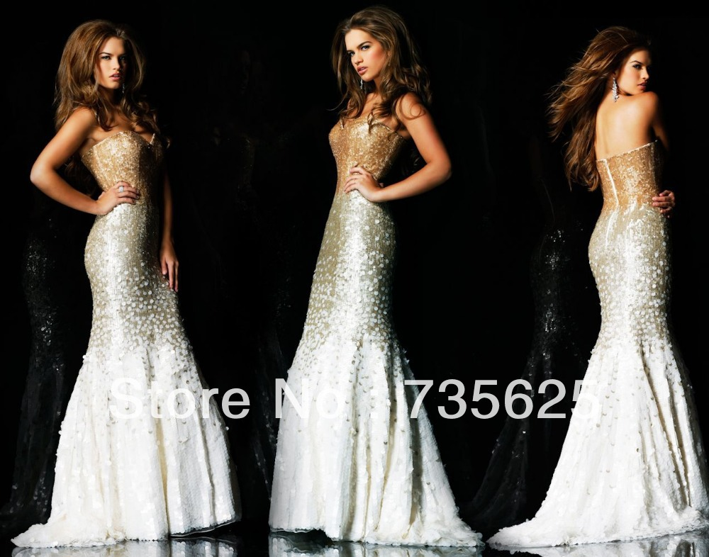 New Arrival Ravishing Golden Sexy girls Mermaid Sweetheart Off the Shoulder Empire Floor Length Prom Evening Dress Gown H084-in Evening Dresses from Apparel & Accessories on Aliexpress.com