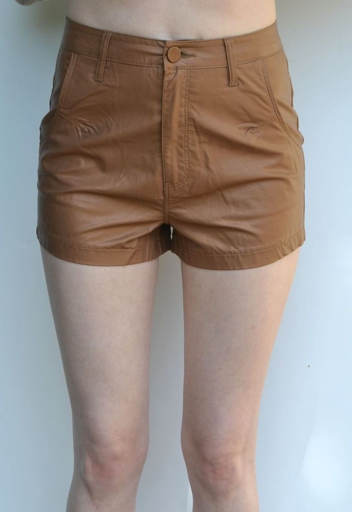 Waisted Faux Leather Shorts Moto black tan LF nastygal zara hot ...