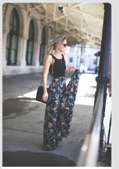 skirt,pants,flowy,cute,needitasap,coat,flower pants flow,jumpsuit,comfy,floral,dark blue,flare,paisley,high waisted jeans,boho,maxi skirt,maxi,hippie,hip,top,crop tops,halter neck,halter top,crop halter,black,halter crop top,flowers,blouse,palazzo pants,summer,dress