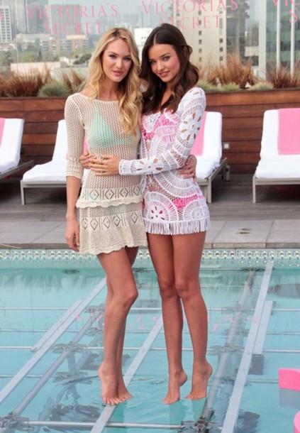 victoria's secret miranda kerr candice swanepoel crochet top dress