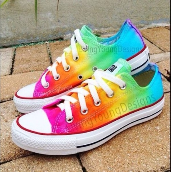 f2c5098a942e RAINBOW CONVERSE Custom Tie Dye Converse by LivingYoungDesigns on Wanelo