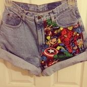 shorts,marvel,jeans,denim shorts,marvel superheroes
