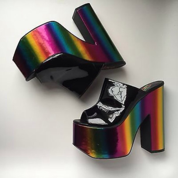 shoes high heels platform shoes chunky heels holographic black heels