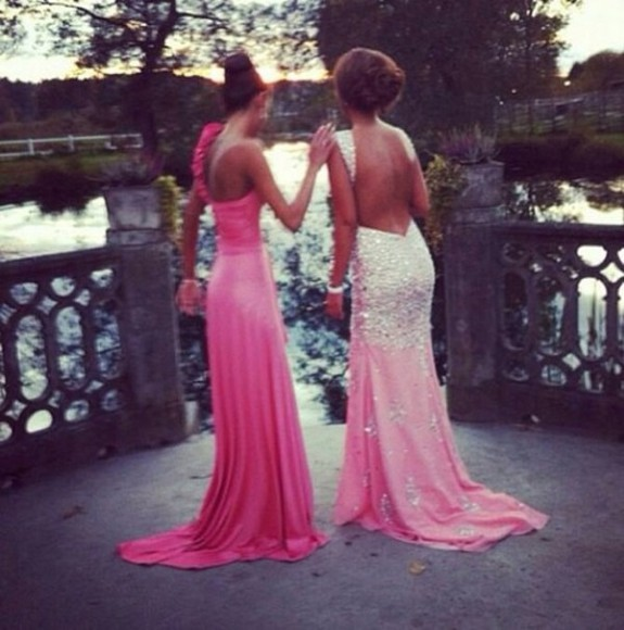 rhinestone dress prom dress prom prom dress 2014 pink dress sparkly dress backless dress long dress