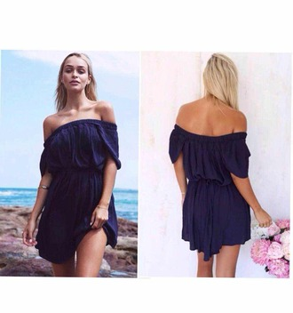 dress fashion navy boat neck off shouler slim navy dress sexy dress summer party lady