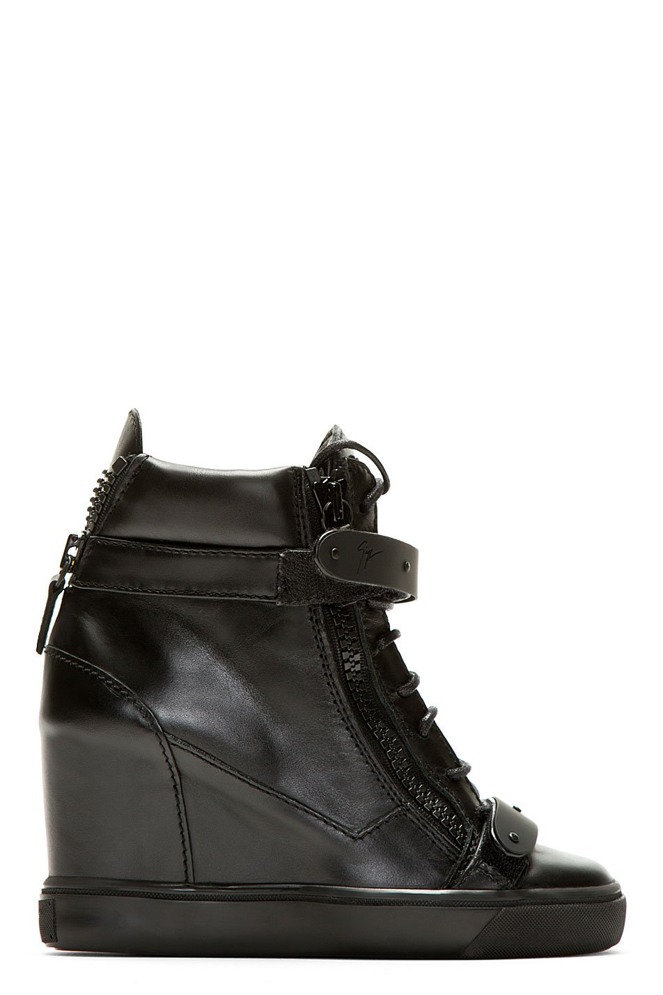 Giuseppe zanotti black leather wedge lorenz high_top sneakers