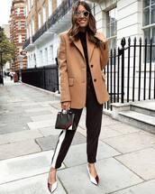 jacket,blazer,oversized jacket,wool,wool jacket,pants,pumps,handbag,round sunglasses