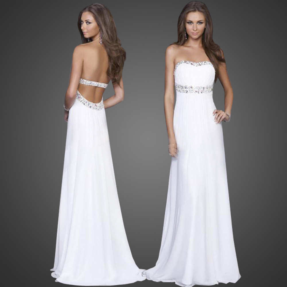 white backless strapless evening party long dress formal