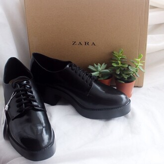 shoes black shoes urban hipster zara brogue