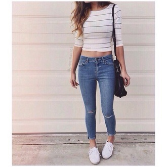 shirt tumblr outfit tumblr school outfit edgy striped top