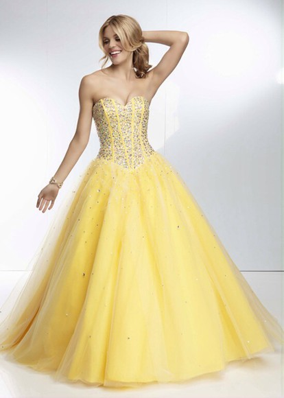 ball gown prom dress long sparkly yellow