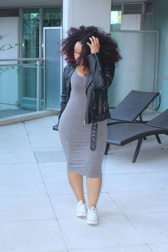 dress grey grey dress knitted dress bodycon dress jacket leather jacket
