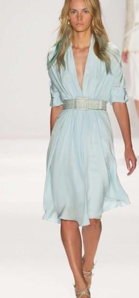 3152b75c2de2 dress blue summer summe dress tiffany belt low neck knee length blue dress  summer dress tiffany