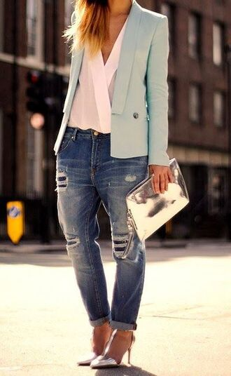 bag baby blue blazer clutch metallic clutch jeans blue jeans ripped jeans boyfriend jeans sandals high heel sandals silver sandals silver high heels sandals shirt white shirt blazer blue blazer silver clutch