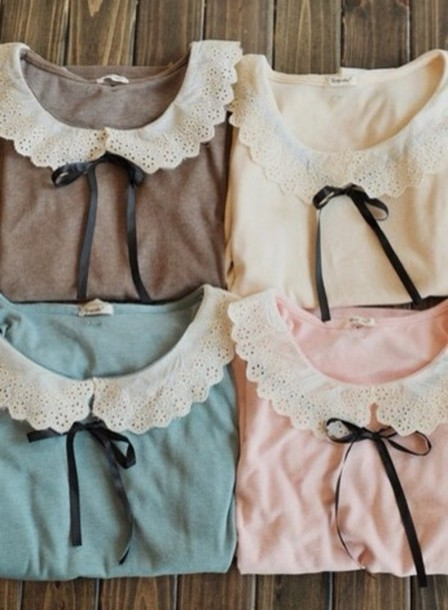 shirt lace collar white bow