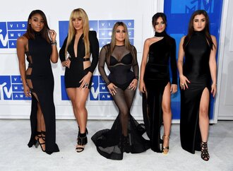 dress fifth harmony slit dress black dress black mini dress sandals lauren jauregui camila cabello dinah hansen normani hamilton vma mtv ally brooke