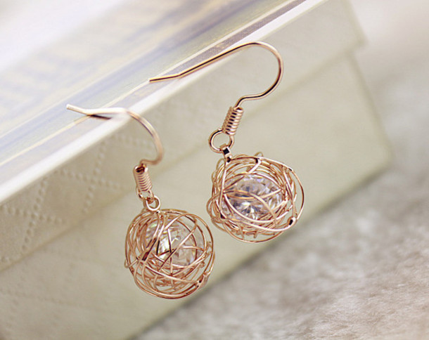 Jewels Hook Earrings Crystal Braid Ball Gifts For Girls Gold Mom