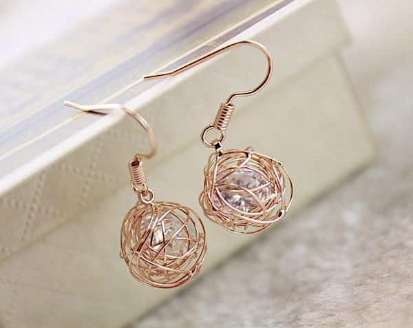 jewels hook earrings crystal earrings braid ball earrings gifts for girls gold earrings gifts for mom birthday present birthday gift