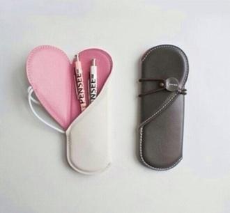heart pink pencil case phone cover desk