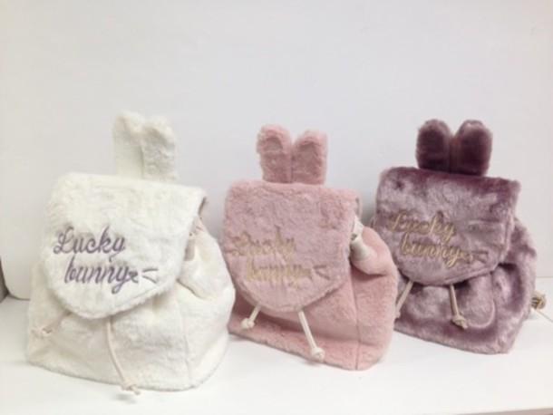 01a6c090166d bag jfashion cute bunny backpack kawaii fashion kawaii accessory kawaii bag  dusty pink
