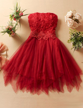 dress,prom,red,roses,knee length,strapless,cute,prom dress,cute dress