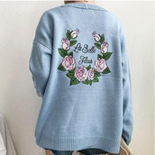 sweater,embroidered,girly,blue,sweatshirt,jumper,tumblr