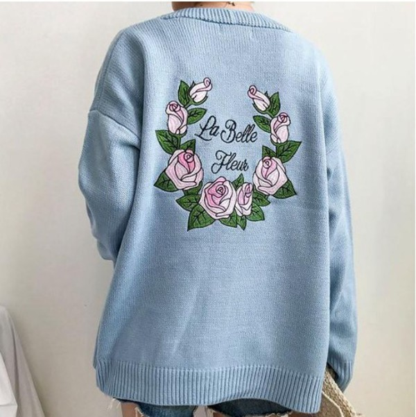 sweater embroidered girly blue sweatshirt jumper tumblr