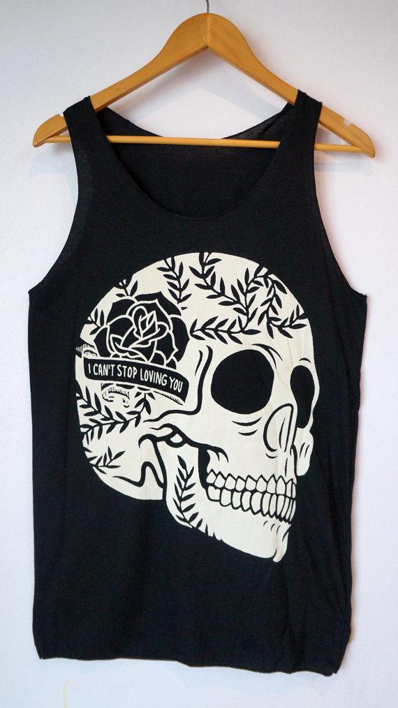 Rose flower skull tank top mens & women black shirt by petathai