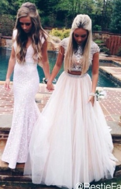 dress white dress 2 piece prom dress