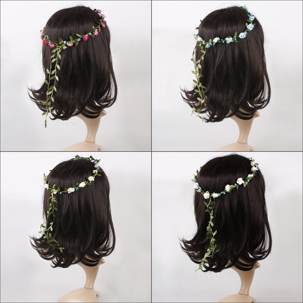 Hot boho women floral flower festival wedding garland forehead hair head band