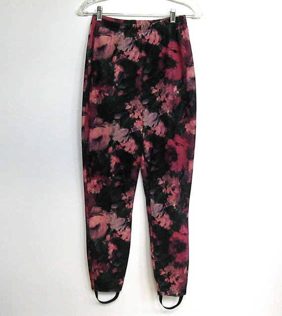 Vintage 1980 - 90s Floral Print / Stirrup Pants / Stretch Leggings