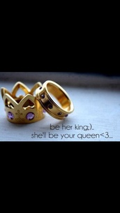 jewels,engagement ring,ring,purple gold ring,gold ring,for her,for him,king and queen,rings and tings,gold,couple,crown ring,purple diamond,gold crown ring,heart