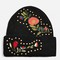 Studded floral beanie hat - black